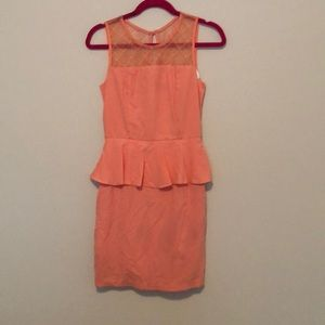 Coral peplum lace dress - never worn.